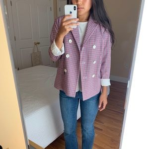 J.Crew Plaid Double Breasted Blazer Red Tattersall
